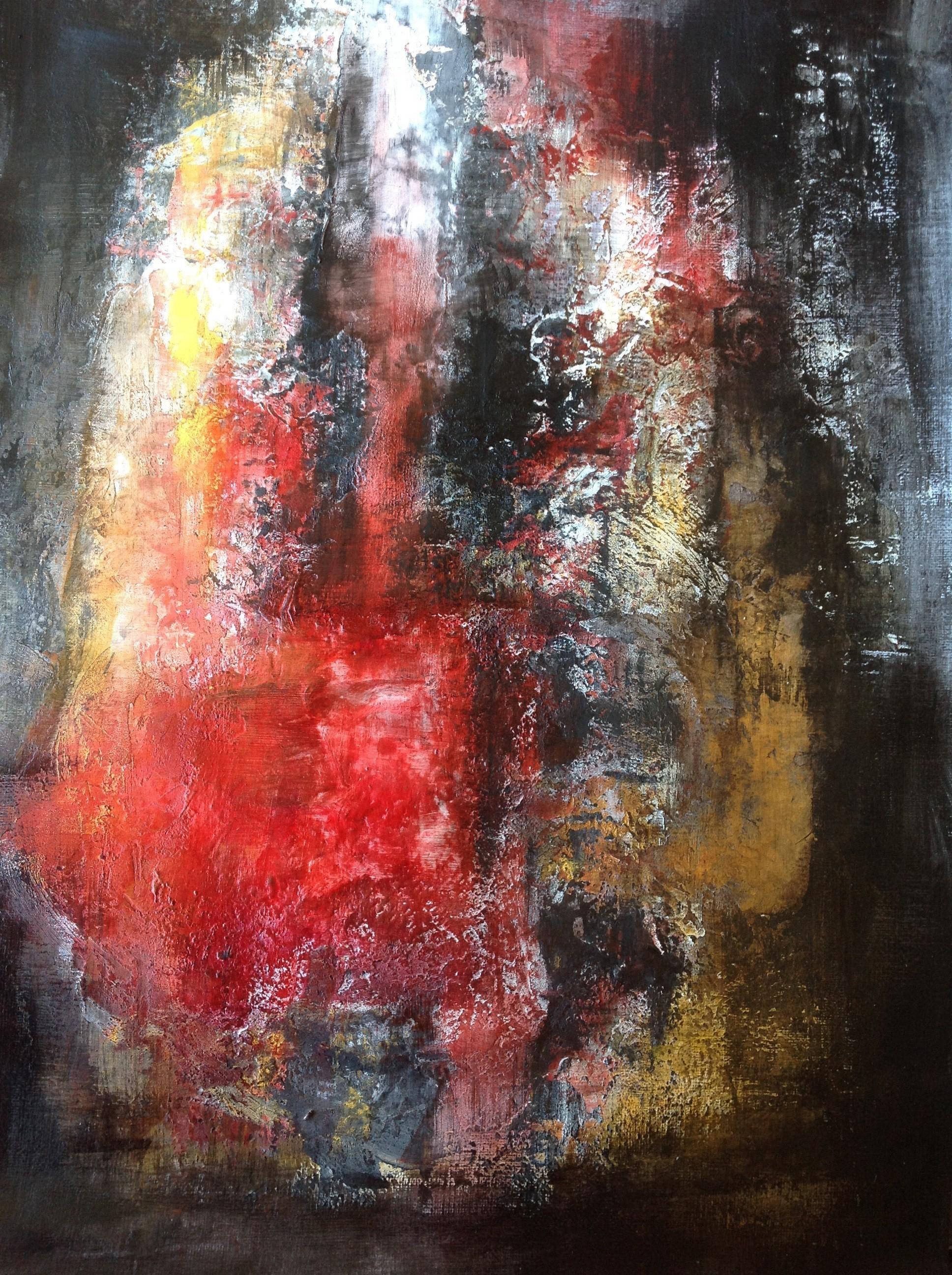 Mischtechnik, Pigment, Wandfarbe auf Acrylpapier 30 x 42