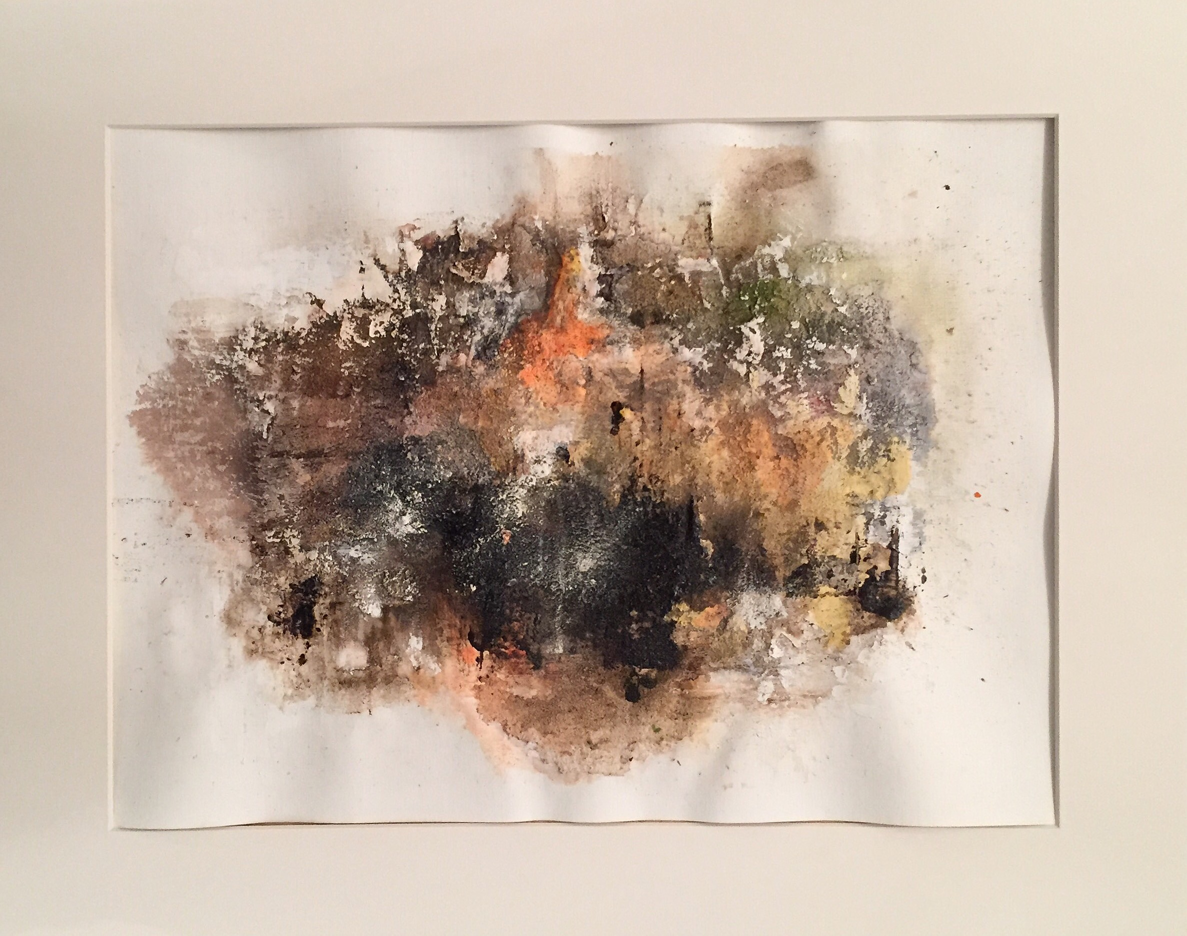 Mischtechnik Bitumen, Pigment, Wandfarbe und Sand auf Acrylpapier