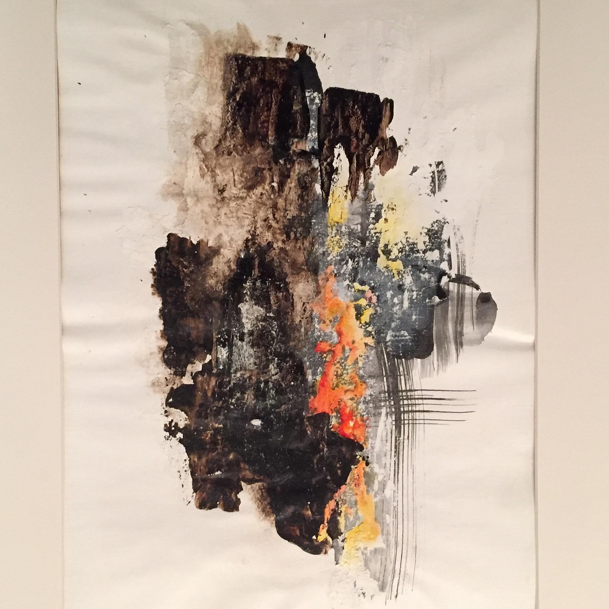Mischtechnik Bitumen, Pigment, Tusche und Wandfarbe auf Acrylpapier