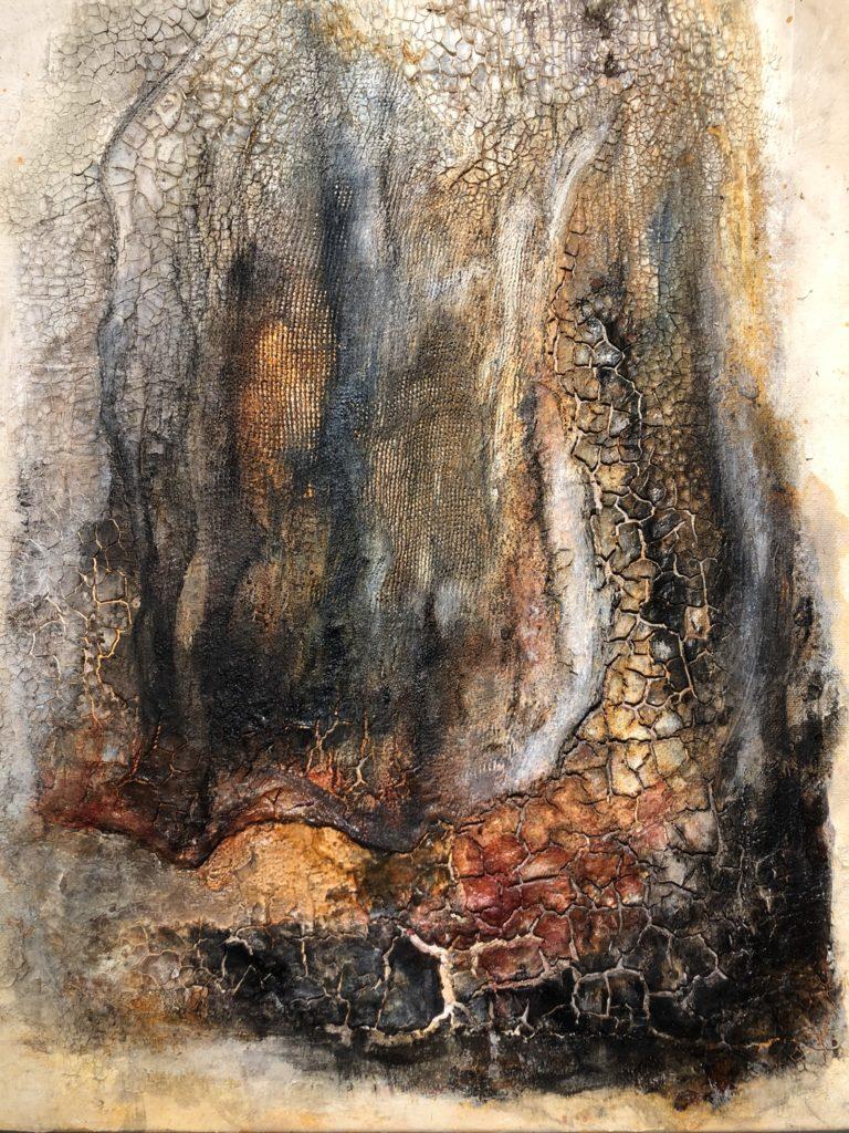 Marmormehl, Baumwollgewebe, Beizen und Pigmente auf Leinwand 40x50